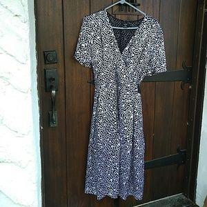 Alfani Silk Wrap Black White Dots Dress